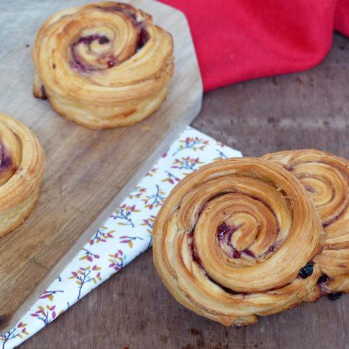 Croissants roulés myrtille cacahuète vegan